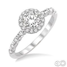 1/2 Ctw Diamond Engagement Ring with 1/4 Ct Round Cut Center Stone in 14K White Gold