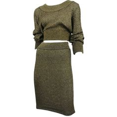 Pre-owned Alaia Gold Knit Two Piece (4,730 PEN) ❤ liked on Polyvore featuring dresses, skirts, tops, one pieces, skirt suits, suits outfits and ensembles and alaïa