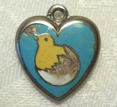 Victorian Enameled Chick Puffy Heart Charm