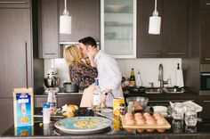 Adorable kitchen engagement session | Photography: Tara McMullen - taramcmullen.com   Read More: http://www.stylemepretty.com/canada-weddings/2015/01/29/whimsical-kitchen-engagement-session/