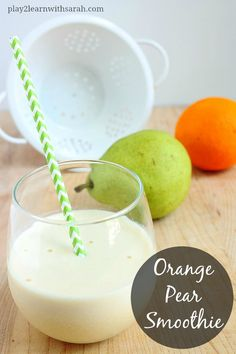 Orange Pear Smoothie - a quick easy kid friendly smoothie to help train those little palates to drink smoothies.