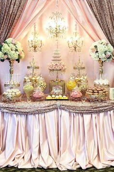 Elegant pink and gold dessert table styled by Elegant Dessert Table, Pink Dessert Tables, Dessert Table Backdrop, Pink Table, Dessert Buffet, Candy Buffet, Dessert Bars, Rosa Desserts, Pink Desserts