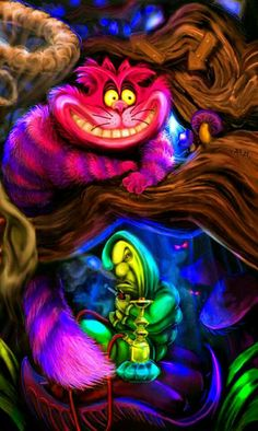 Alice in Wonderland - Cheshire cat, colorful and whimsical art <3