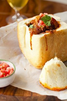 Durban Bunny Chow with Buttermilk Rusks . a South African meal of chicken and prawn curry served in bread bowls South African Recipes, Indian Food Recipes, New Recipes, Cooking Recipes, Favorite Recipes, Africa Recipes, Chicken And Prawn Curry, Buttermilk Rusks, Curry Recipes