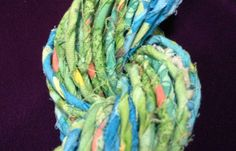 Reinyarnations - Recycled Yarn - Green and Blue Batik Print Salvaged Cotton Fabric Yarn
