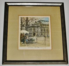 Drypoint Etching, Framed & Matted, Signed Robert Kasimir VIENNA OPERA HOUSE