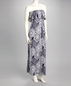 Take a look at this Navy Abstract Floral Strapless Maxi Dress by Fashionomics on #zulily today!
