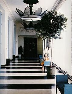 The Crystal Room corridor, in the Greenbrier Hotel, White Sulpher Springs, West Virginia, designed by Dorothy Draper, in 1948.