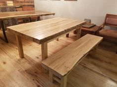 Table and bench set milled out of an old Hand Hewn beam from wisconsin.
