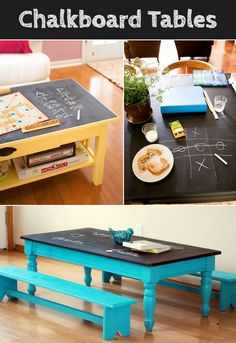 Chalkboard Tables- a great idea for a kid's playroom so they can play games like tic tac toe! Tables Tableaux, Chalkboard Table, Chalkboard Ideas, Chalkboard Paint Furniture, Chalk Paint, Toy Rooms, Kids Play Rooms, Kids Playroom Ideas Toddlers, Kids Play Table