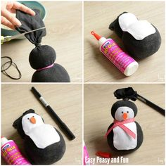 No-Sew Sock Penguin Craft – Easy Peasy and Fun No-Sew Sock Penguin Craft – Easy Peasy and Fun,Kindergarten If you loved our no-sew sock snowman you're going to love our no-sew sock penguin craft. Sock Snowman Craft, Penguin Craft, Sock Crafts, Snowman Crafts, Christmas Crafts For Kids, Crafts For Teens, Holiday Crafts, Christmas Diy, Sharpie Crafts