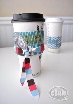 Upcycled Father's Day Coffee Sleeves using Mod Podge, scrapbook paper, ribbon, pictures and stickers.