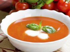 This easy & healthy tomato basil soup recipe is a perfect weeknight meal! It uses a secret ingredient to thicken it up AND add more protein to the soup. Nordstrom Tomato Basil Soup Recipe, Best Tomato Soup, Serious Eats, Dinner Tonight, Weeknight Meals, Soups And Stews, Soup Recipes, Food Processor Recipes, Cooking