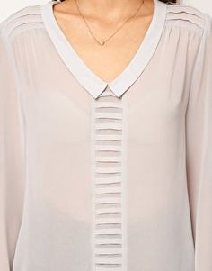 ASOS Blouse With Drop Collar And Pintuck Shoulders: