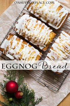 Easy recipe for Eggnog Bread with Sugar Rum Glaze | perfect for holiday gift-giving, parties and family gatherings. Simple to make and so moist!