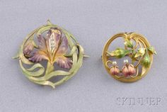 Two Art Nouveau 14kt Gold and Enamel Brooches