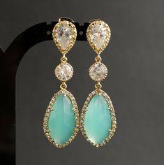 mint bridal earrings, jewelri mint, gold and mint wedding, fashion earrings, mint and gold earrings, earrings wedding, gold wedding earrings, earrings bridal, mint earring
