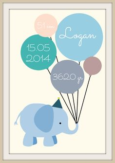 Elefant fødselstavle - Logan(Print selv) Diy Projects To Try, Crafts To Do, Baby Barn, Baby Knitting Patterns, Inspirational Gifts, Diy Baby, Signs, Diy For Kids, Baby Room