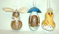 Gourd Easter Ornaments  Hand Painted  Rabbit by FromGramsHouse