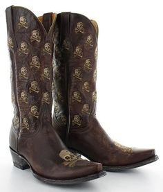 Rivertrail Mercantile - Old Gringo Skull Biker Boots, Cowgirl Boots, Western Boots, Skull Fashion, Fashion Shoes, Mens Fashion, Leather Men, Leather Boots, Old Gringo Boots