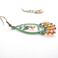 Rustic Chandelier Earrings Orange Beads and by MoonlightShimmer, $18.00