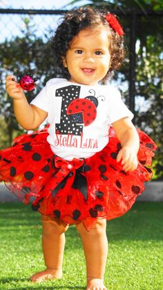 Girls 1st Ladybug birthday outfitRed and Black por KidsFunLand