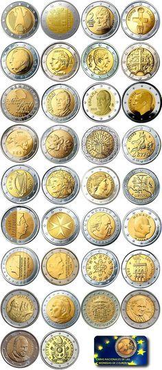 Monedas de 2 Euros todas las Caras Nacionales | Numismatica Visual Rare Coins Worth Money, Valuable Coins, Valuable Pennies, Euro Währung, Piece Euro, Timbre Collection, Euro Coins, Coin Art, Bullion Coins