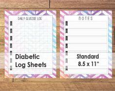 8 page Weekly Diabetes Log Sheets, Blood Sugar Tracker, Diabetic ...