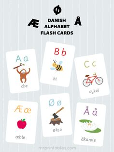 Printable Danish alphabet flash cards for kids. Part of our multilingual preschool learning resources. Danish Alphabet, French Alphabet, Letter Flashcards, French Flashcards, Printable Flashcards, Alphabet Worksheets, Danish Language, German Language Learning, Learning English