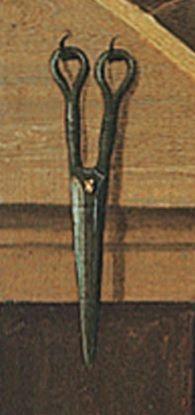 Detail from scribes desk in St Matthew the Evangelist by Gabriel Malasskircher. 1478. Held at Museo Thysson-Bornemisza, Madrid