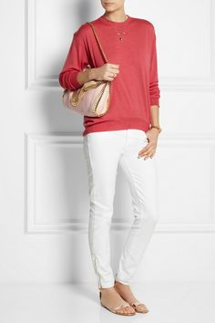 Stella McCartney | Wool and silk-blend sweater | Paige | Verdugo mid-rise skinny jeans | Gianvito Rossi | Metallic leather sandals | Stella McCartney|The Falabella convertible linen-canvas shoulder bag|