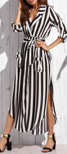 Buy Casual Dresses For Women at JustFashionNow. Online Shopping JustFashionNow Shawl Collar Women Casual Dress Going out Dress Long Sleeve Elegant Paneled Striped Dress, The Best Holiday Casual Dresses. Discover unique designers fashion at JustFashionNow. Trendy Dresses, Casual Dresses, Summer Dresses, Maxi Dresses, Formal Outfits, Striped Long Sleeve Shirt, Long Sleeve Shirt Dress, Dress Long, Belted Shirt Dress
