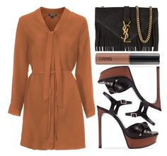 """""""street style"""" by sisaez ❤ liked on Polyvore featuring Topshop, Yves Saint Laurent and MAC Cosmetics"""