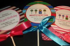 Custom Candy Bar Lollipop Invitations