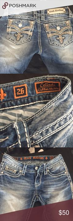 Rock Revival Celinda cuffed skinny 28 inch inseam 14 1/2 inch waist band . These are super nice jeans ! One of my favs! They are damaged in the crotch area. A small tear formed and I had repaired at Buckle . See pics . Selling at reduced price Rock Revival Jeans Skinny