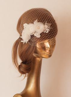 WEDDING BRIDAL BIRDCAGE VEIL. Ivory veil .Romantic wedding by ancoraboutique, $115.00