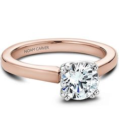 Noam Carver - Bridal Mount - B001-02RA, priced from $566 (price doesn't include head stone) Noam Carver Engagement Ring #diamondring #diamond #engagementring #bling #engaged #pink #pinkgold sold at Barthau Jewellers, www.barthau.com