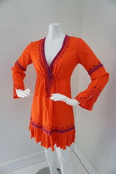 MODA International Orange & Purple Tunic Embroidered Blouse Size Small #ModaInternational #Tunic #Casual