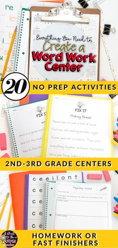These NO PREP word work center activities are perfect for second & third grade teachers who want fun + print and go word work activity ideas. Reading Stations, Literacy Stations, Reading Centers, Literacy Centers, Writing Centers, Word Work Activities, Spelling Activities, Listening Activities, Vocabulary Games