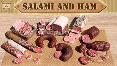 ✔ КОЛБАСА салями и ветчина из полимерной глины / Polymer clay salami and...