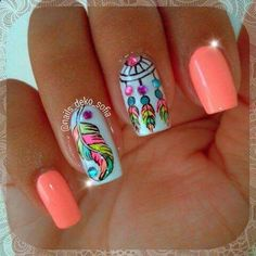 Having short nails is extremely practical. The problem is so many nail art and manicure designs that you'll find online Cute Nail Art, Gel Nail Art, Pretty Nail Designs, Nail Art Designs, Feather Nail Designs, Feather Nail Art, Nails Design, Design Art, Design Ideas