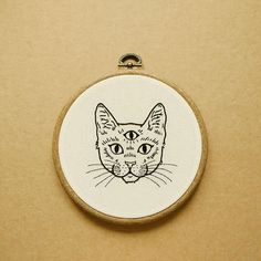 Three Eyed Cat Hand Embroidery Hoop Art (embroidery wall hanging) (tattoo patch)