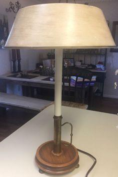 Vintage mid century brass table lamp wmilk glass hobnailfloral vintage stiffel brass table lamp leviton wood base double light with shade aloadofball Gallery