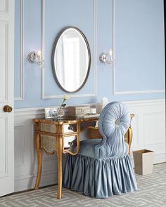 Haute House Vienna Mirrored Vanity ($1,799 + $250 S&H) and Mona Vanity Seat ($1,499 + $160 S&H)