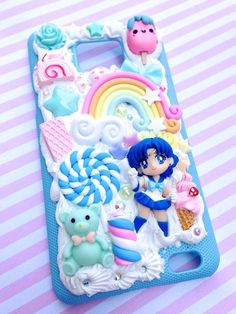 Galaxy Note 2 Phone Case - Polymer Clay - Keychain Sailor Moon Girl- Silicone - Resin