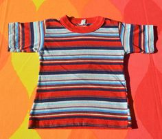 70s vintage kids t-shirt STRIPES rainbow surf youth by skippyhaha