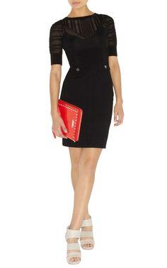 Karen Millen KN084 Lace and stretch knit dress Black