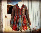 S-M Embroidered Boho Pixie Coat// Upcycled Fairy Coat// emmevielle