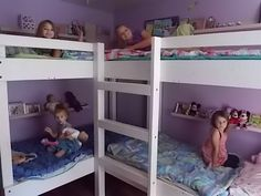 In part 6 of our series, large family organization tips we are going to look at the girls room…  In this room, we have four girls sleeping in here. We had a few different bunk beds …