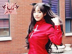 28.80$  Buy here  - REATIL  Fate Stay Night Tohsaka Rin Cos Wig Black Grey Brown Wave Long 80cm Base 65cm Ponytail beautiful  Hair Pluto+CAPS